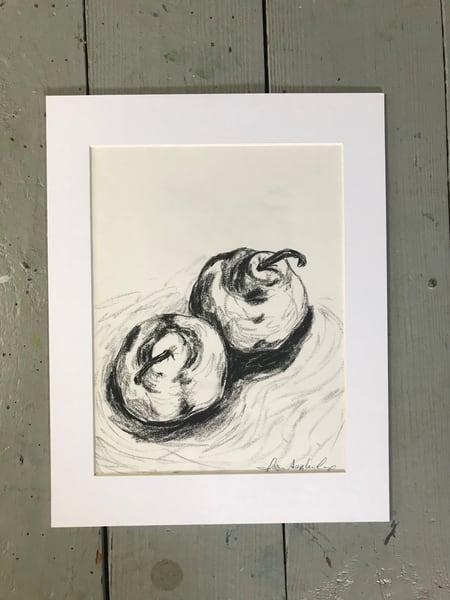 #7 Pears Charcoal Sketch Art | Joan Cox Art
