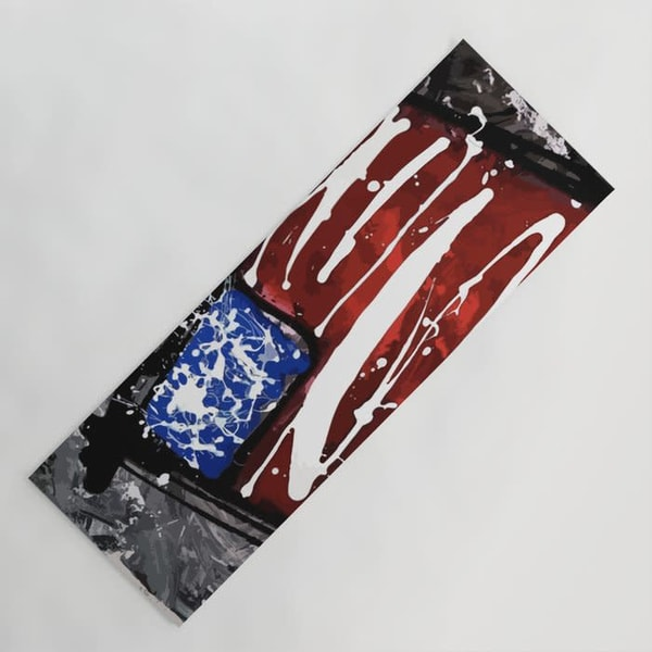 red white and blue flag yoga mat