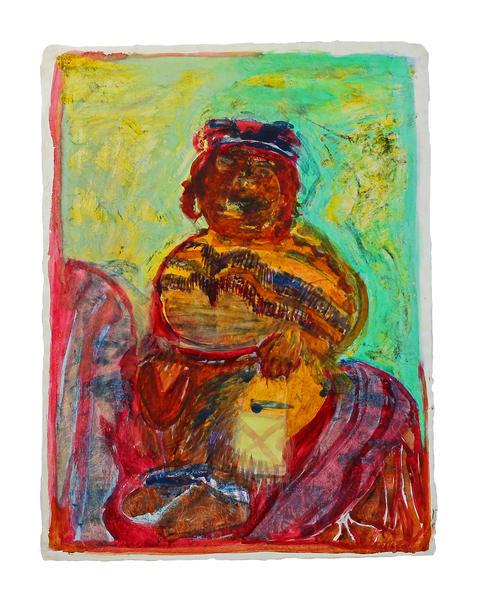 blackfeet-girl indigenous hand-painted-montype fine-art-original