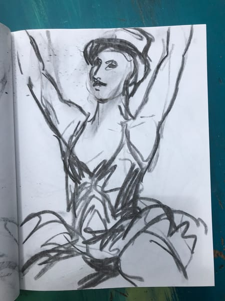 #9 Top Hat Charcoal Drawing Art | Joan Cox Art