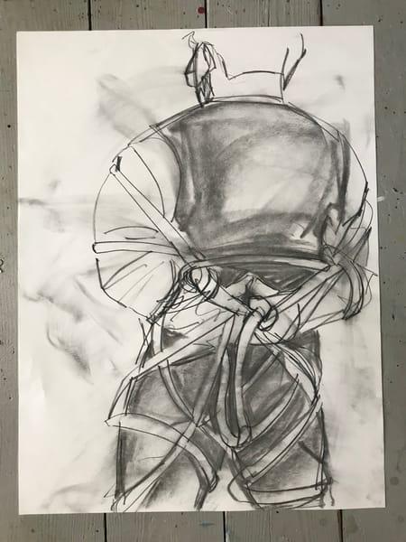 #11 Straight Jacket Charcoal Drawing Art | Joan Cox Art
