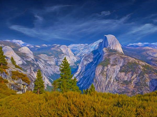 Darkening Skies over Half Dome, print of photograph of Half Dome, Yosemite National Park for sale as digital art by Maureen Wilks