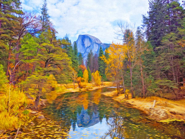 Half Dome Mirror, print of photograph of Half Dome, Yosemite National Park for sale as digital art by Maureen Wilks