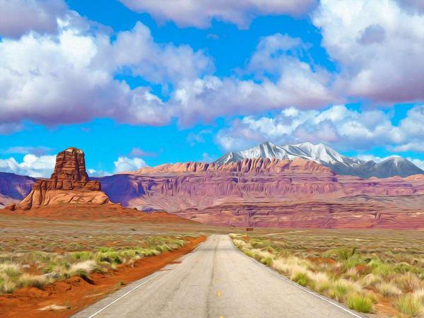 Approaching Hite, Utah print of photograph of near Hite, southeast Utah for sale as digital art by Maureen Wilks