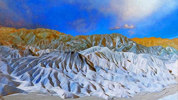 Zabriskie Point in Blue, print of photograph at Zabriskie Point, Death Valley National Park, California for sale as digital art by Maureen Wilks