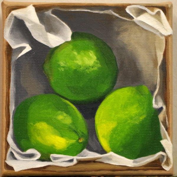 Three Limes In A Cardboard Box Art | Helen Vaughn Fine Art