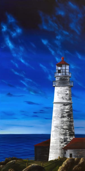 Evening Lighthouse | Original Mixed Media Painting Art | MMG Art Studio | Fine Art Colorado Gallery
