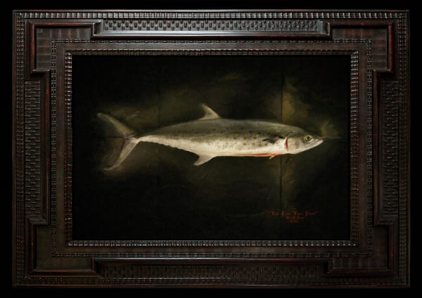 """The Fish That Feed"" 50X33"" Encaustic Painting"