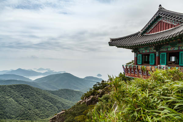 A Buddhist monestary on the top of Geum San Mountain in South Korea. There are many Buddhist Monestaries in Korea where many of them has been around for more than a thousand years.  Most of them are still fuctioning monestaries.