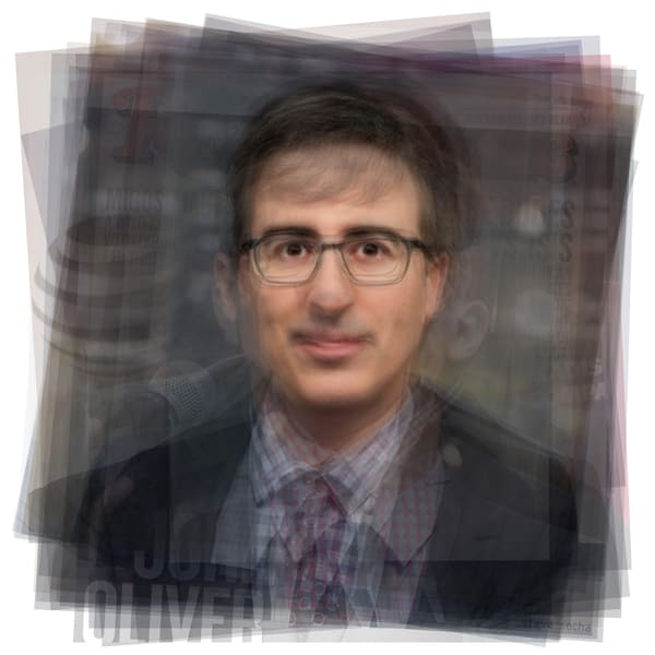 Overlay art – contemporary fine art prints of a portrait of John Oliver.