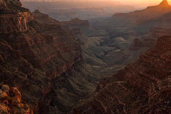 Sunset in the valley next to Wotans Throne at the Grand Canyon North Rim