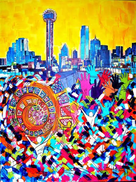 Iconic Dallas Skyline Art   Janak Narayan Fine Art