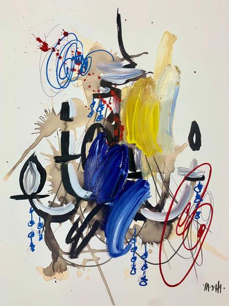 Red Swirl Blue Jewel Chandelier  Art | ashalmonte