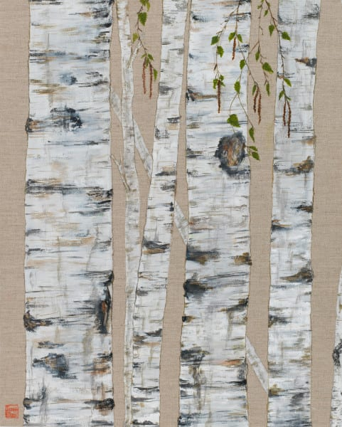 Birch On Linen Tall Art | donnadacuti