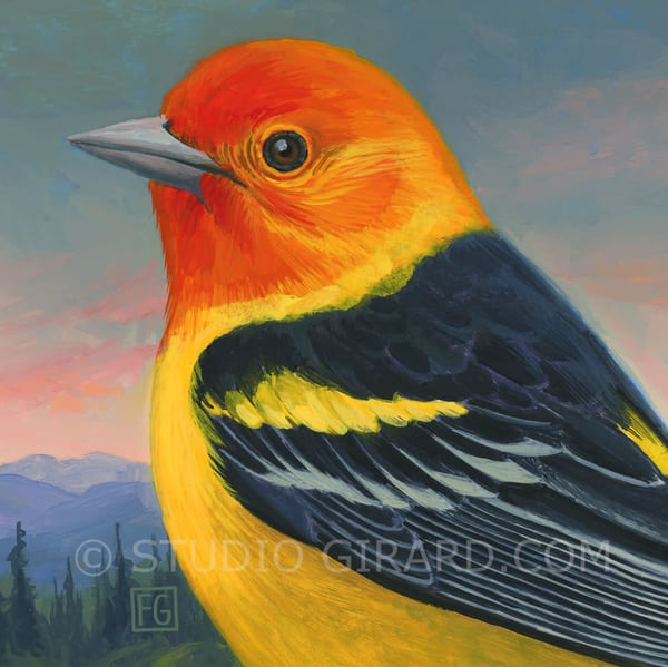 Western Tanager Bird Block | Studio Girard