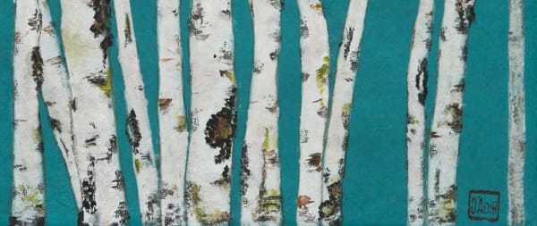 Birch On Turquoise || Art | donnadacuti