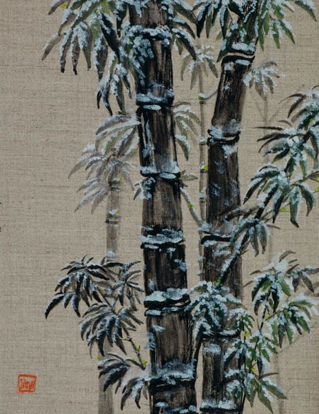 Black Bamboo On Linen Art | donnadacuti