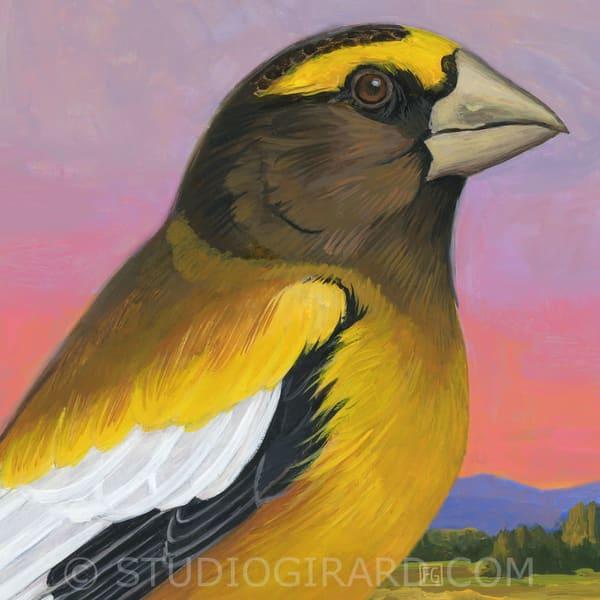 Evening Grosbeak Bird Block | Studio Girard