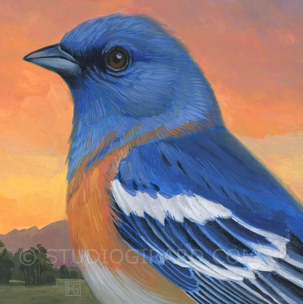 Lazuli Bunting Bird Block | Studio Girard
