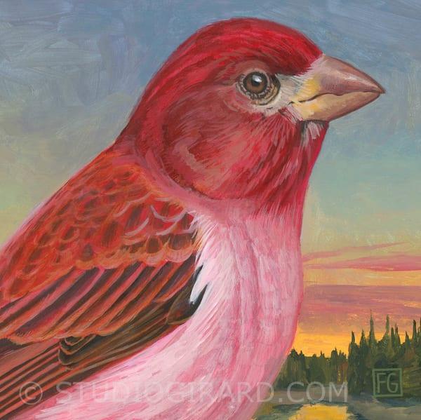 Purple Finch Bird Block | Studio Girard