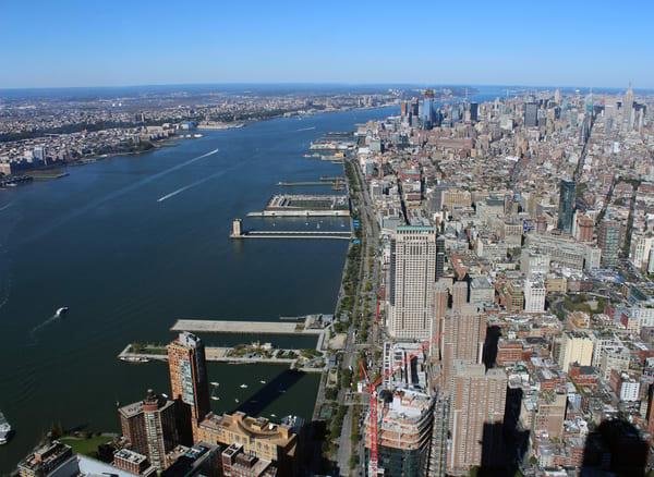 one world new york view arial manhattan island city
