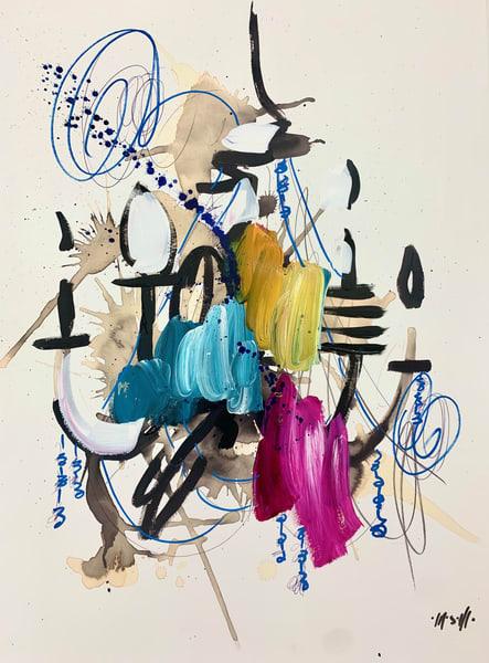 Teal, Magenta, Yellow Chandelier  Art | ashalmonte
