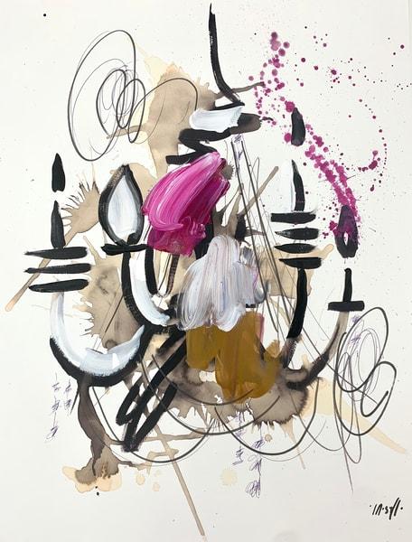 Pink White & Gold Chandelier  Art | ashalmonte