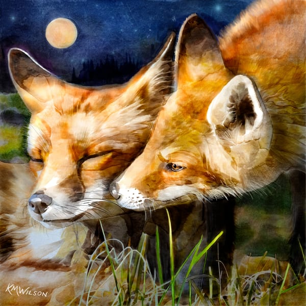 Russell and Holmes, fox pair, night scene