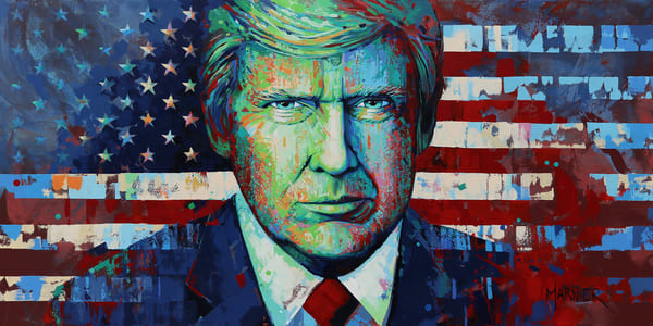 He Knows, Donald J Trump, Marnier Art, Original Painting