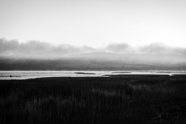 Morning in Black and White - early morning fog on the ocean in Northern California photograph print