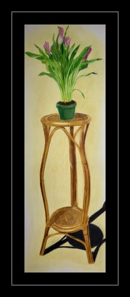 Calla Lilies on a Pedestal, Original Colored Pencil Painting