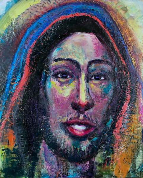 Beautiful heavenly vision painting of Jesus. This is painted with encaustic wax and mixed media on wood by Monique Sarkessian.