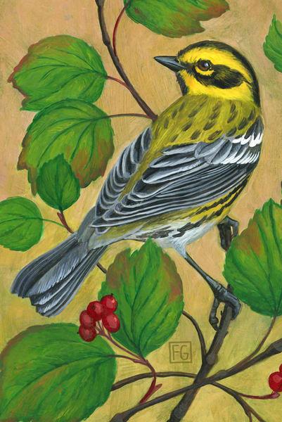 Townsend's Warbler Bird Block | Studio Girard