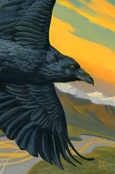 Raven Wanderer Bird Block | Studio Girard