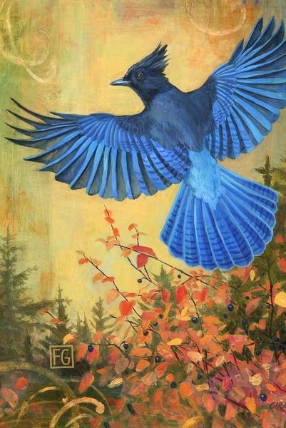 Steller's Jay Bird Block | Studio Girard