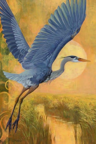 Blue Heron Bird Block | Studio Girard