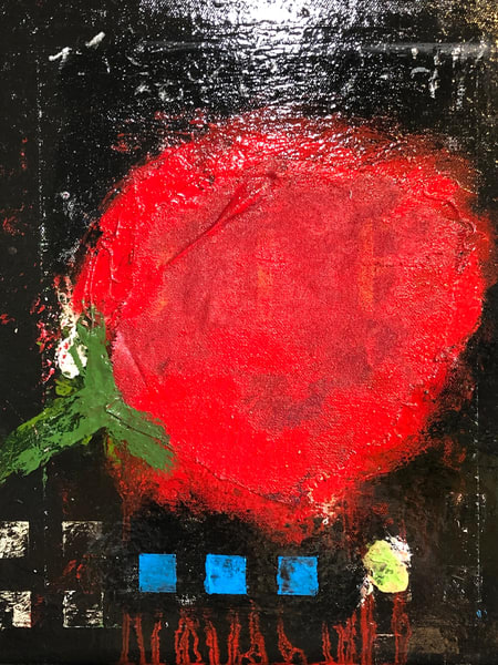 Red Rose 3 Squares Art | Adam Shaw Gallery