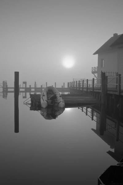 Dinghy in Morning Fog