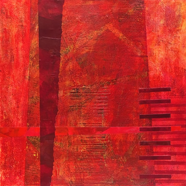 Corrugated Crimson - Abstract Painting | Cynthia Coldren Fine Art