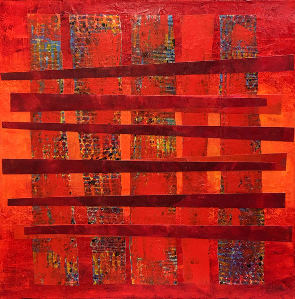 Double Red Crossings - Abstract Painting | Cynthia Coldren Fine Art