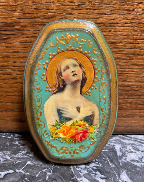 Oblong wooden Angel plaque hand painted by Kathy Maniscalco
