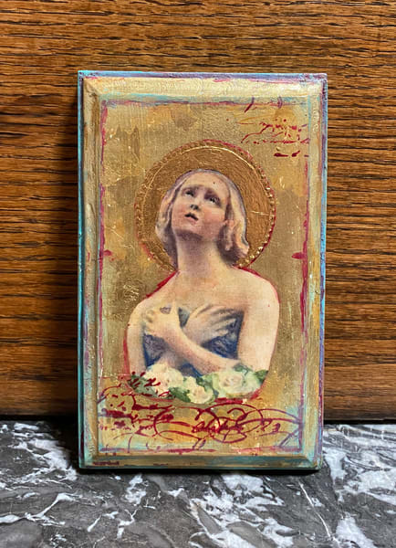 Angel plaque with 24k real gold leaf hand painted by Kathy Maniscalco