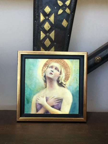 Angel plaque hand painted by Kathy Maniscalco in Santa Fe, NM
