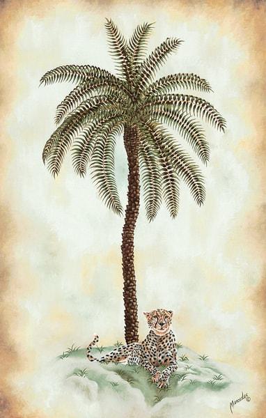 Cheetah And Palm   Original Art | Mercedes Fine Art