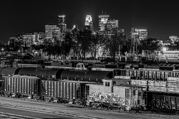 Train Yard And The City Black And White Photography Art | William Drew Photography