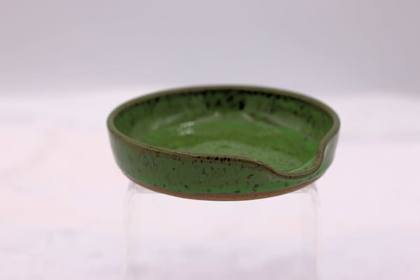 Bright Green Speckled Spoon Rest Pottery Clay