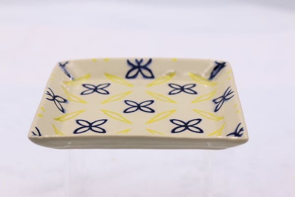 Square Pottery Plate With Yellow and Blue Accents Clay Ceramics