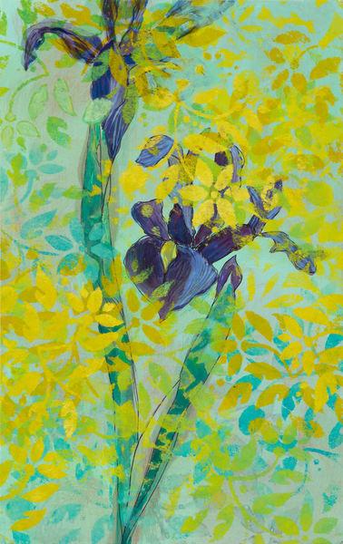 Irises And Yellow Patterns Art | Debbie Dicker - Art