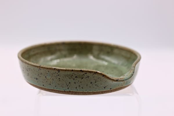 Medium Green Speckled Spoon Rest Pottery Clay Ceramics