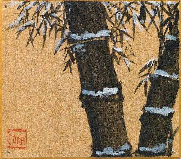 Black Bamboo On Gold Art   donnadacuti